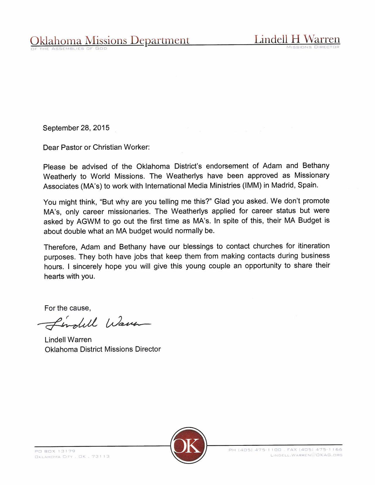 Letter from Lindell Warren