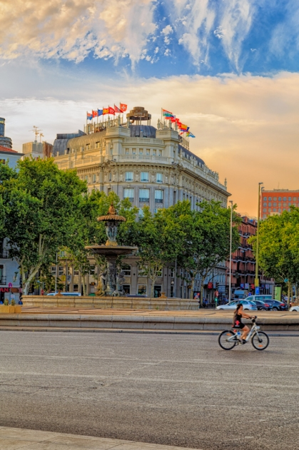 Paseo del Prado as seen from the Atocha Train Station in Madrid, Spain.