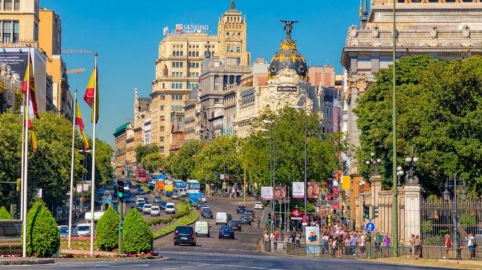 Maqueta Gran Via as seen from Puerta de Alcalá in Madrid, Spain.
