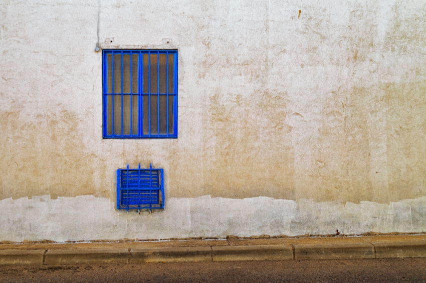 Blue window found on Calle Estaño in Los Hueros, Spain.